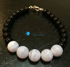 Throat Chakra Bracelet (Blue Lace Agate & Black Obsidian) - New Moon Beginnings - 4
