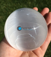 Selenite Sphere (75-80mm) - New Moon Beginnings - 3