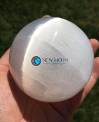 Selenite Sphere (75-80mm) - New Moon Beginnings - 1