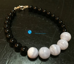 Throat Chakra Bracelet (Blue Lace Agate & Black Obsidian) - New Moon Beginnings - 2