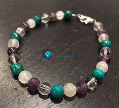 Sleep Aid and Pain Relief Bracelet (Selenite, Amethyst, Chrysocolla, & Quartz Crystal) - New Moon Beginnings - 2