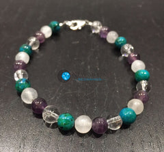 Sleep Aid and Pain Relief Bracelet (Selenite, Amethyst, Chrysocolla, & Quartz Crystal) - New Moon Beginnings - 1