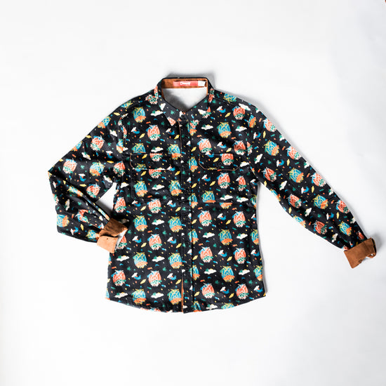 Painted Owl Button Down - Unisex - Limited Release