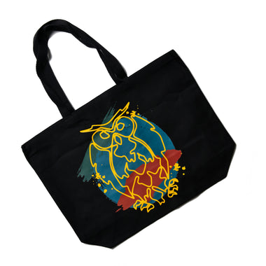 Painted Owl Black Canvas Bag - Limited Release