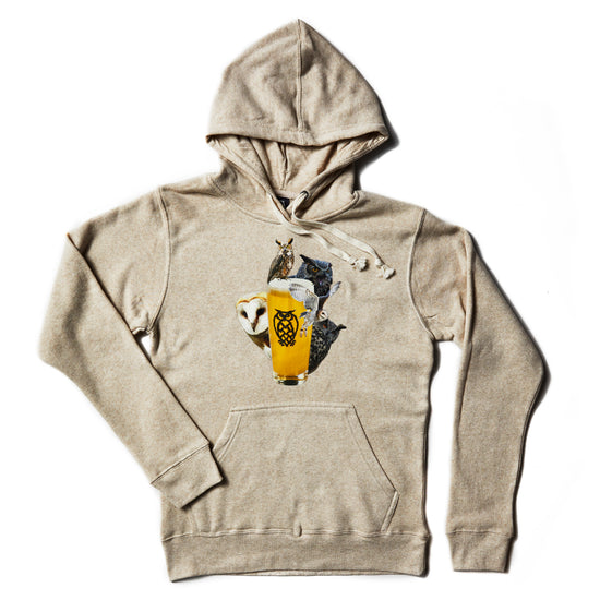 Owl Collage Pull-Over Hoodie - Oatmeal