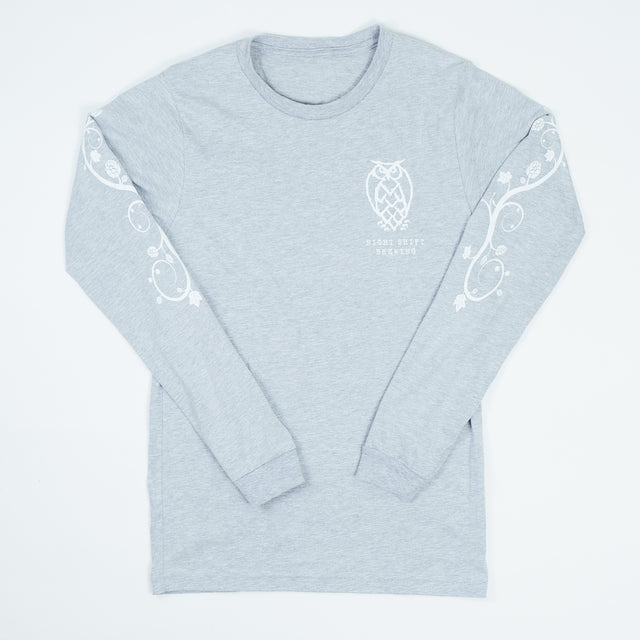 Owl Hop Vine Long Sleeve T-shirt - Gray - FINAL SALE