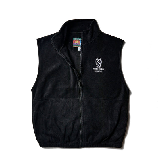 Night Shift Brewing Embroidered Black Full Zip Vest Fleece
