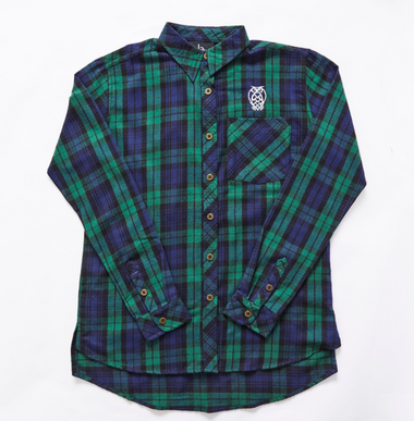 Women's Logo Flannel: Green & Navy