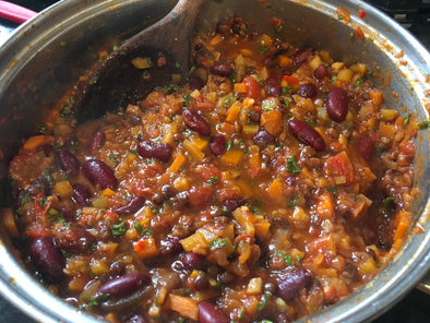 Vegan chilli recipe with balsamic vinegar