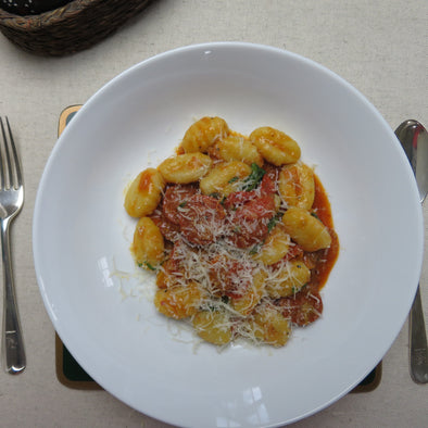 Gnocchi with Corndale Chorizo, Heritage Tomatoes and Wild Garlic