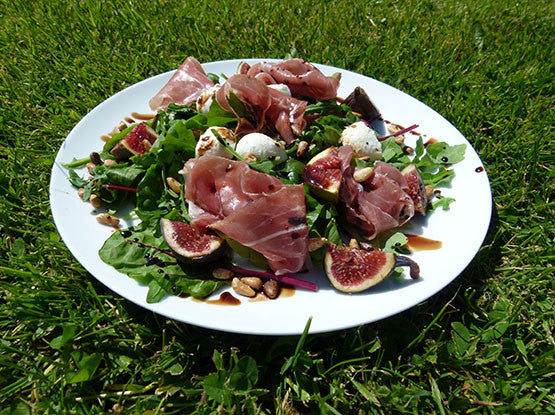 PARMA HAM AND FIG SALAD WITH RHUBARB AND GINGER DRESSING