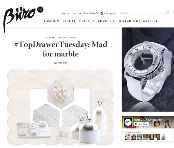 Comme Home Marble Feature in Buro 24/7 Singapore Magazine
