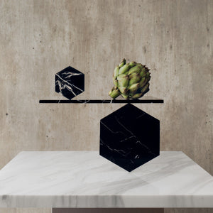 Black Hexagonal Marble Tiles (Set of 4)