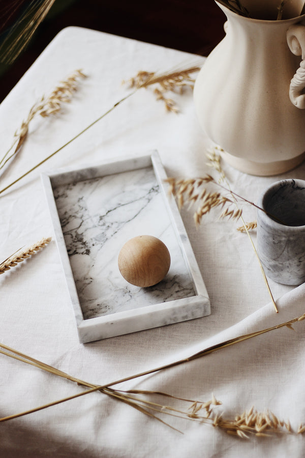 White Rectangular Marble Tray (Small)