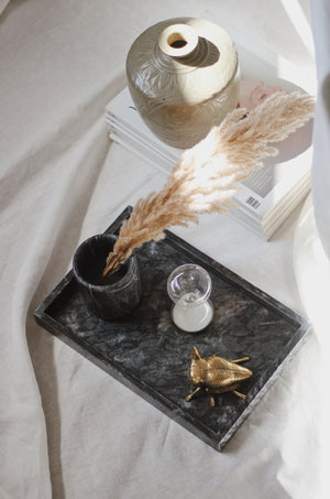 Black Marble Rectangular Marble Tray (Large)