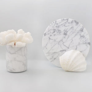(DISPLAY SAMPLE) White Round Marble Cylinder