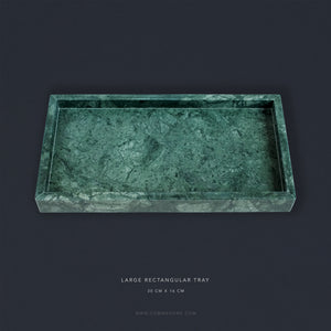 Green Marble Rectangular Marble Tray (Large)