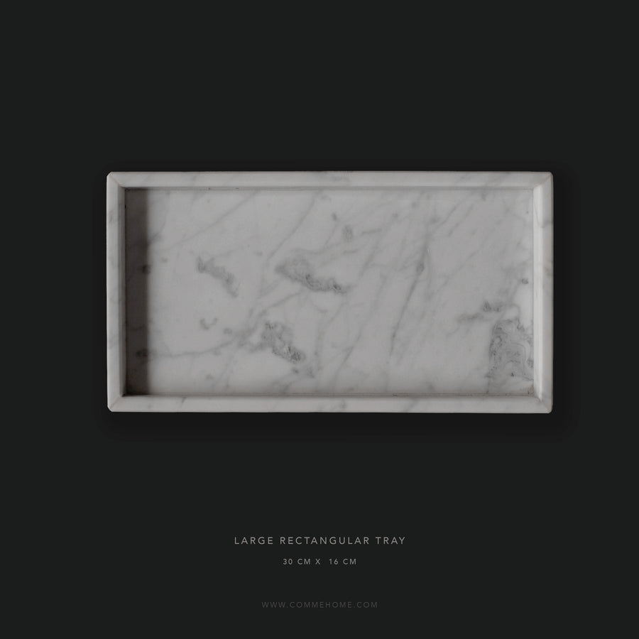 (DISPLAY SAMPLE) White Marble Rectangular Marble Tray (Large)