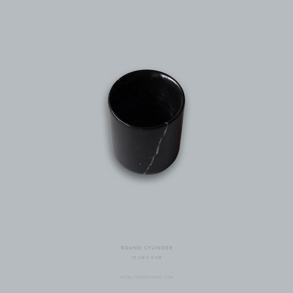 (DISPLAY SAMPLE) Black Round Marble Cylinder