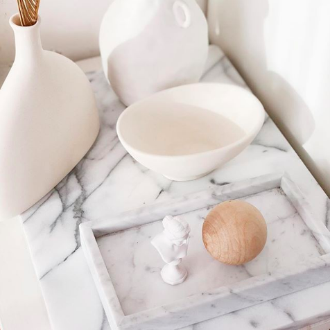 White Rectanglular Marble Tray (Small)