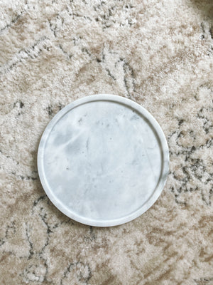 (DISPLAY SAMPLE) White Round Marble Tray (Small)
