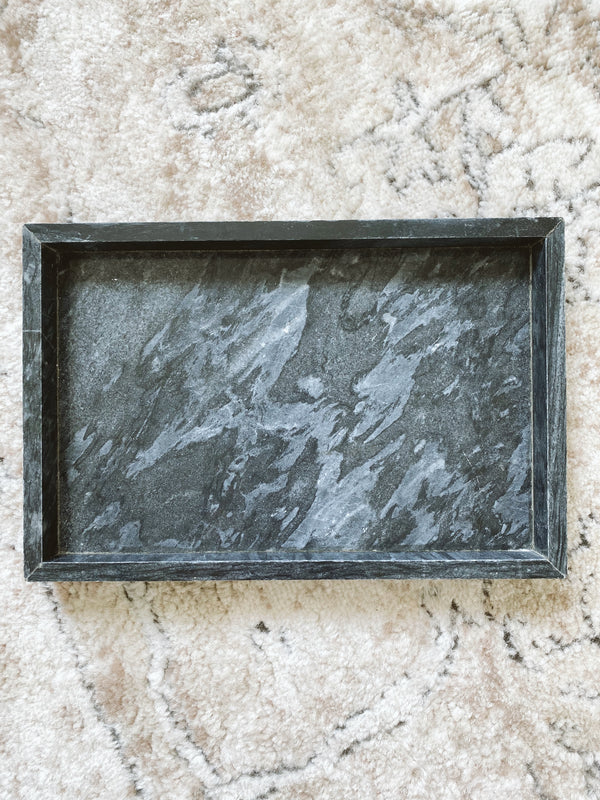 (DISPLAY SAMPLE) Black Marble Rectangular Marble Tray (Large)