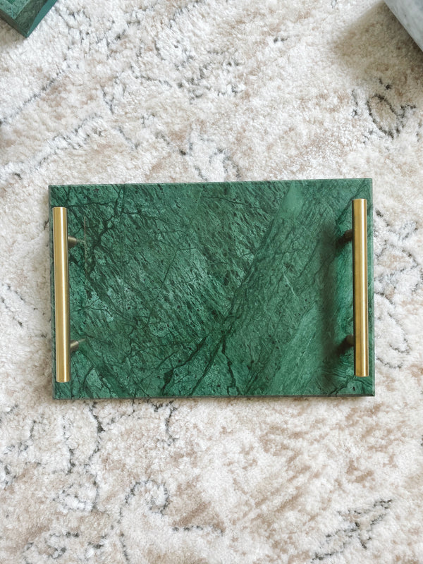 Green Rectangular Tray with Handles