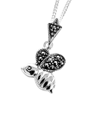 Marcasite silver bee pendant and chain
