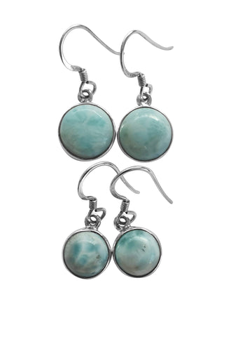 Round Larimar silver earrings