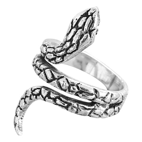 Scaly silver snake ring