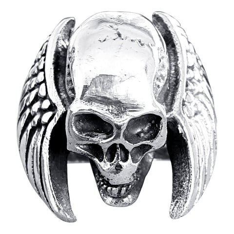 Winged Silver Skull Ring