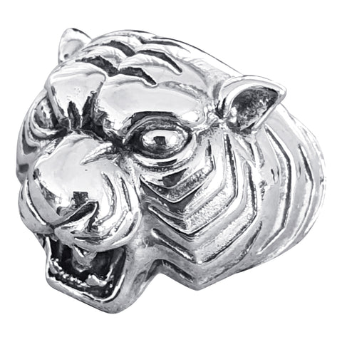 Silver Growling Tiger Ring