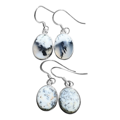 Merlinite oval earrings