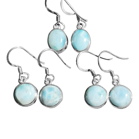 Larimar Drop Earrings in Silver
