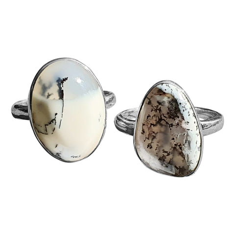 Merlinite Cabochon Rings in Silver