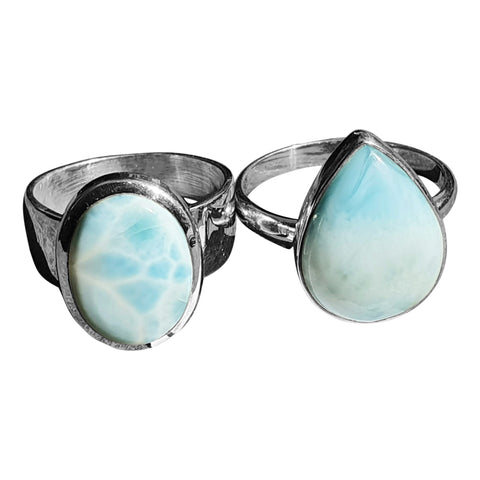 Larimar and Silver Rings