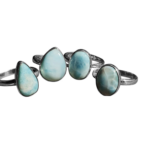 Larimar Silver Unique Rings