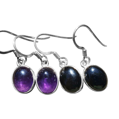 Oval Cabocon and Silver Earrings