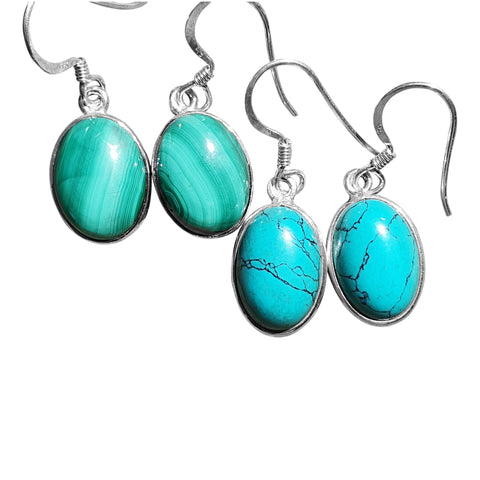 Oval Earrings Turquoise & Malachite