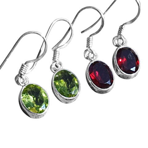 Facetted Oval Gemstone Earrings