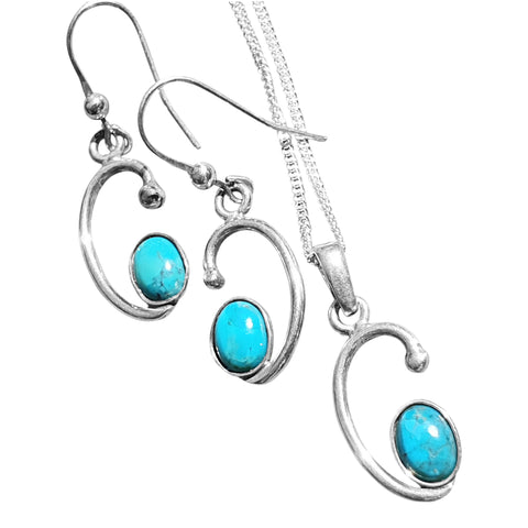 Turquoise Silver Swirl  Pendant and Earrings