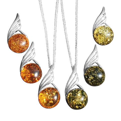 Feathered Amber Pendant and Chain