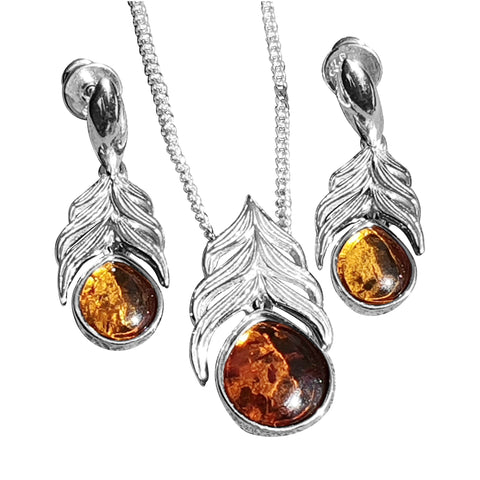 Feather Amber pendant and Earrings
