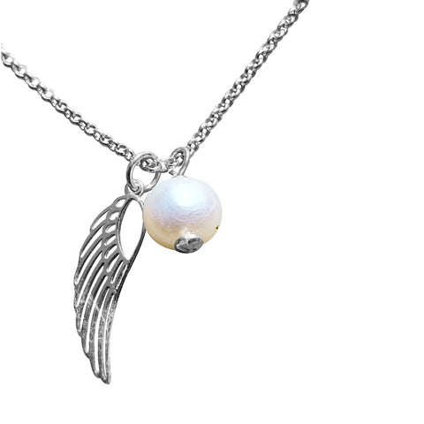 Winged Pearl Necklace with Adjustable Chain