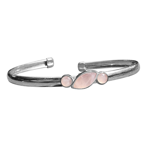 Rose Quartz Silver Bangle with Rose Gold Accents