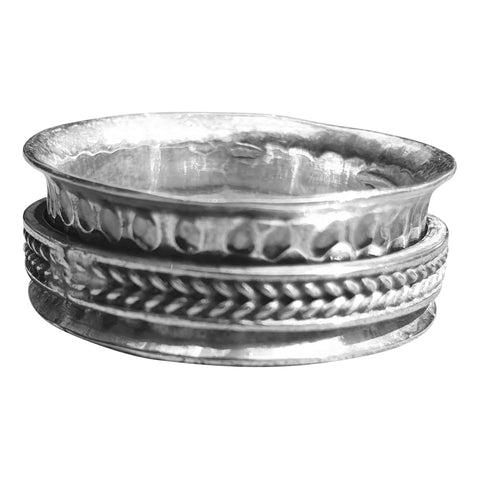 Braided Silver Spinning Ring