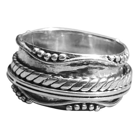 Wide Silver Spinning Ring