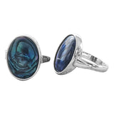 Oceanic Blue Paua Shell Silver Rings