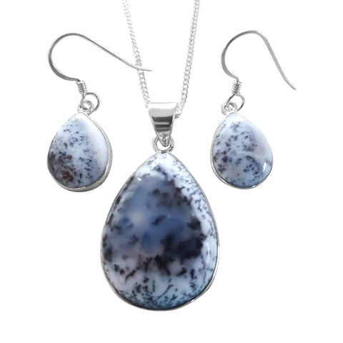 Merlinite Pear shaped Pendant and Earrings