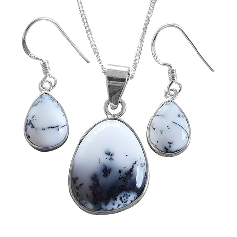 Merlinite Monochrome Pendant and Earrings